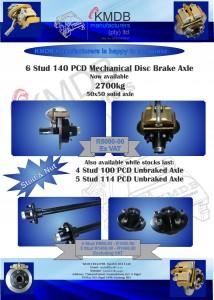 KMDB announces its 6 Stud Disc Brake Axle!